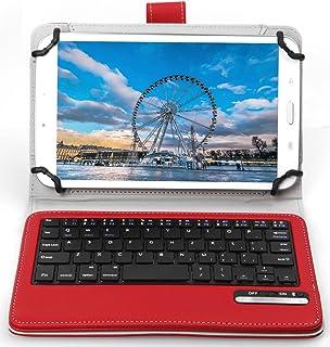 ASUS ZenPad 7.0 Z370KL ケース,【IVSO】オリジナル ASUS ZenPad 7.0 Z370KL/Z370C/Z370CG (2015 Version) /旭エレクトロニクス AEC SG080i SG080iSL SG080iBK /Huawei Mediapad M2 7.0/ Huawei Mediapad T2 7.0 pro / Dragon Touch Y88X/Y88X Plus / Y88 / Q88/Dragon Touch S8/Huawei Mediapad M2 8.0/ Qua tab px/ ASUS ZenPad 8 2016/ ASUS Zenpad Z8キーボード ((7-8インチのタブレットも適用) 開閉で自動的 PUレザーケース マグネット着脱可能 一体型 ワイヤレスキーボード(レッド)