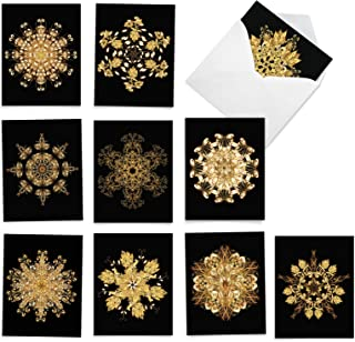 The Best Card Company - 10 Zen Blank Greeting Cards Assorted (4 x 5.12 Inch) (Not Foil) - Magnificent Mandalas AM6326OCB-B...