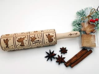 CHRISTMAS ANGELS EMBOSSING ROLLING PIN MERRY CHRISTMAS for CHRISTMAS GINGERBREAD COOKIES DECORATING ROLLER