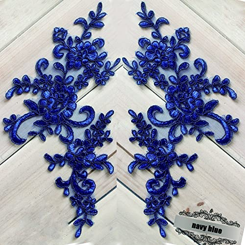 2 Pcs Navy Flower Lace Patches for Wedding Dress DIY Clothing Flower  Applique Collar Material fcfab6448b8c
