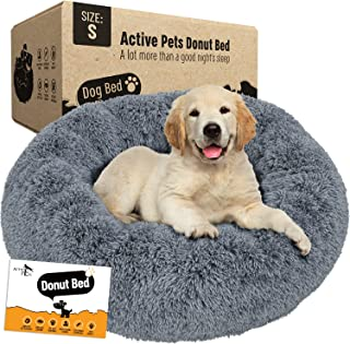 Active Pets Plush Calming Dog Bed, Donut Dog Bed for Small Dogs, Medium & Large, Anti Anxiety Dog Bed, Soft Fuzzy Calming ...