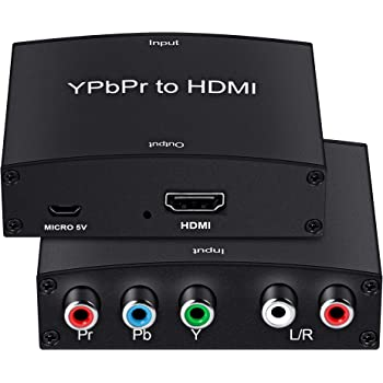 Component to HDMI Converter,MOYOON 5RCA Component RGB YPbPr to HDMI Converter v1.3 HDCP Video Audio Converter Adapter for DVD, PSP, Xbox 360 to New HDTV or Monitor-1080P (Black)
