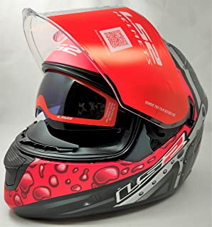 LS2 Helmets - FF320 Stream Evo - Bubble - Matt Black Red - Dual Visor Full Face Helmet - (Large - 580 MM)