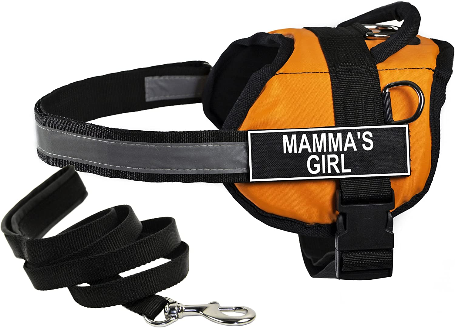 Dean & Tyler's DT Works orange MAMMA'S GIRL Harness with Chest Padding, XSmall, and Black 6 ft Padded Puppy Leash.