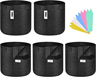 iPower 5-Pack 3-Gallon Grow Bags Fabric Pots Non-Woven Plant Container with Handles Self-Adhesion Sides for Easy Transplan...