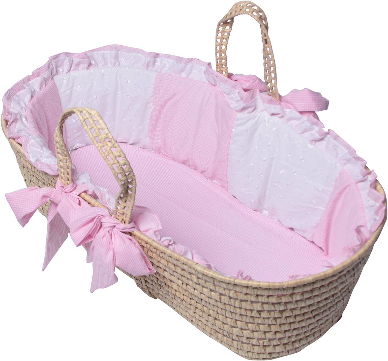 BabyDoll Gingham Eyelet Moses Basket Set in Pink