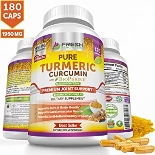 Organic Turmeric Curcumin Capsules by Fresh Healthcare, 1950mg Vegan Tumeric, 180 Supplement Pills, Support Joint, Brain, and Cardiovascular Health, 95% Pure Curcuminoids and BioPerine, Bonus E-Book