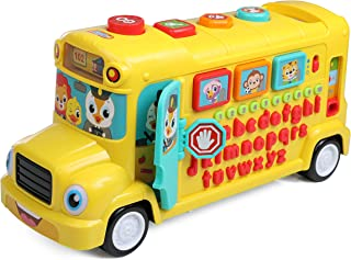 IQ Toys Learning School Bus- Teach Kids Alphabet, Numbers, Words, Shapes and Songs Yellow Bus with Lights and Sounds