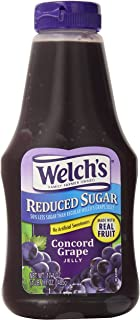 Welch's Reduced Sugar Concord Grape Jelly, No Artificial Flavors or High Fructose Corn Syrup, 17.1 Ounce Squeeze Bottles (...