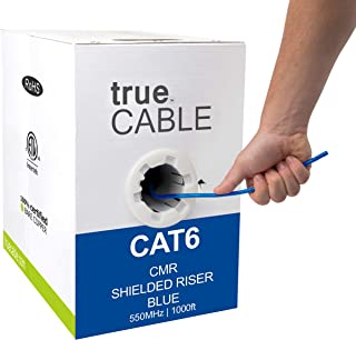 trueCABLE Cat6 Shielded Riser (CMR), 1000ft, Blue, 23AWG Solid Bare Copper, 550MHz, ETL Listed, Overall Foil Shield (FTP), Bulk Ethernet Cable