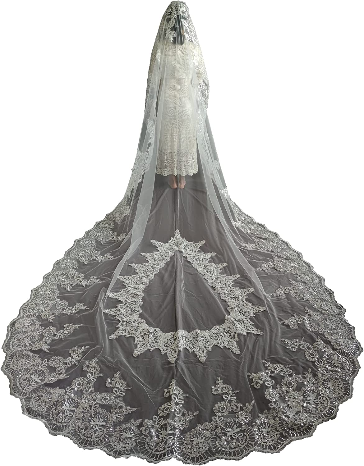 Gorgeous Faithclover Wedding Veils Cathedral Length Sequin Appliques Lace Max 44% OFF