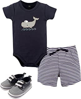 Hudson Baby Unisex Baby Bodysuit, Pants/Shorts and Shoes, sailor whale 3-piece set, 9-12 Months (12M)