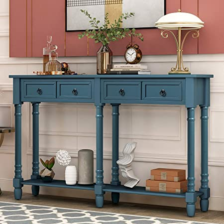 Distressed Grey P PURLOVE Console Table Sofa Table with Storage for Entryway with Drawers and Shelf Rectangular Living Room Table