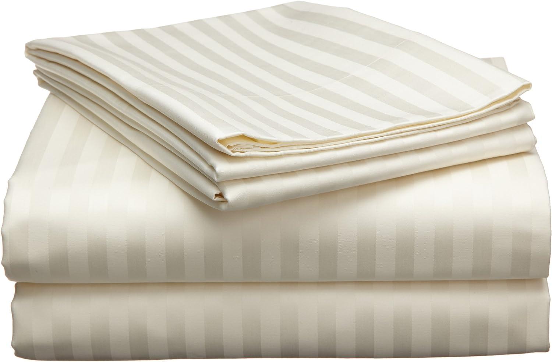 Echelon 800 Egyptian Stripe Full Sheet Set, Ivory