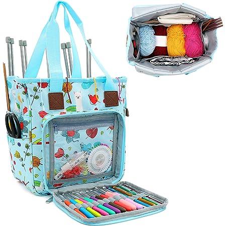 SumDirect Sac de rangement portable pour fils, projets de transport, aiguilles à tricoter, crochets, manuels et autres accessoires (bleu mignon)