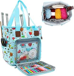 SumDirect Sac de rangement portable pour fils, projets de transport, aiguilles à tricoter, crochets, manuels et autres acc...