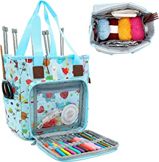 SumDirect Sac à tricot, sac de voyage pour le rangement de fil avec jolie housse et séparateur intérieur pour le transport...