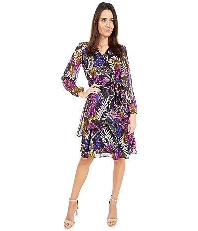 Tahari by ASL Long Sleeve Printed Metallic Floral Tiered Dress
