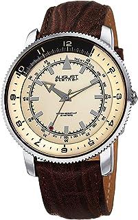 ساعة بحواف مرصعة للرجال من اوغست شتاينر بمينا بلون واحد مع مقياس سرعة بلونين وحزام جلدي