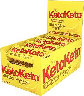 Keto Keto Bars 12 x 50g Keto Snacks for Weight Loss   Keto Diet, Sugar Free Snack, Meal Replacement Bar   Healthy Snacks, Keto Food, Low Carb   Low Calorie, Vegan Food, Breakfast Bar (Banana Bread)