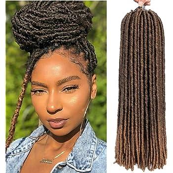 6 Packs/lot Dreadlocks Crochet Braids Soft Faux Locs Crochet Hair Synthetic Braiding Hair Bomba Dreadlocks Faux Locs Soul 18inchGoddess Locs Crochet Hair Braids (18inch, T1B/27)