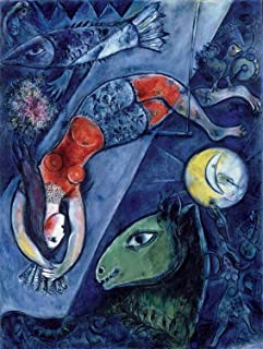 Marc Chagall - Blue Circus, Size 18x24 inch, Gallery Wrapped Canvas Art Print Wall décor