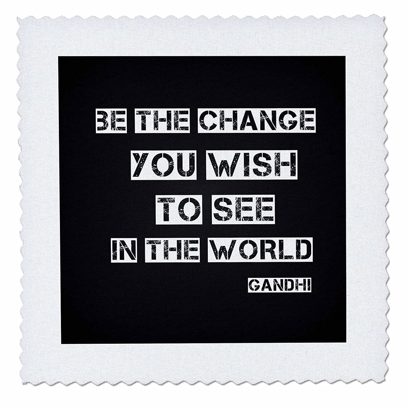 3dRose qs_164666_3 Chalkboard Black and White be The Change Gandhi Quote-Quilt Square, 8 by 8-Inch