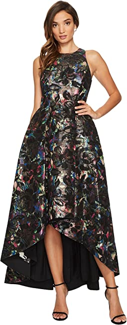 Aidan Mattox - Printed Jacquard High-Low Fit and Flare Gown