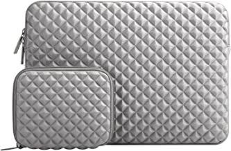 MOSISO Laptop Sleeve Bag Compatible with 15-15.6 inch MacBook Pro, Ultrabook Netbook Tablet with Small Case, Shock Resistant Diamond Foam Water Repellent Neoprene Protective Carrying Cover, Gray