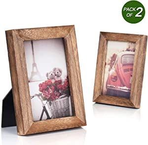 Emfogo 4x6 Picture Frame Photo Display for Tabletop Display Wall Mount Solid Wood High Definition Glass Photo Frame Pack of 2 Carbonized Black
