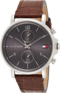 Tommy Hilfiger men's Grey Dial Brown Leather Watch - 1710416