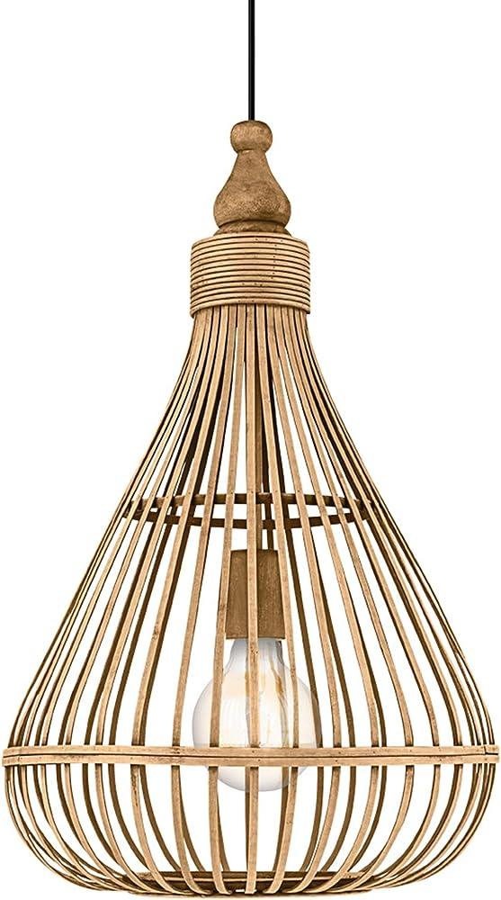 Eglo amsfield ,  lampada a sospensione ,  in acciaio con un paralume decorativo in legno intrecciato 49772