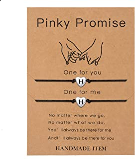SANNYRA Pinky Promise Bracelets Friendship Couple Distance Matching Bracelet 26 Letters Alphabets Gifts for Her 2 Pieces