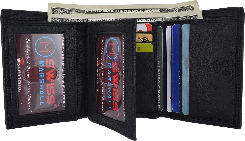 Swiss Marshall Men's RFID Blocking Premium Leather Classic Trifold Wallet (Black)