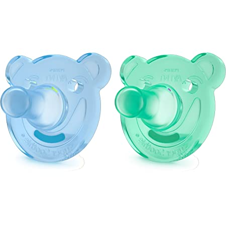 Philips Avent Soothie - Pack de 2 Chupetes calmantes de silicona médica, sin BPA, 3 meses, niño, color azul y verde