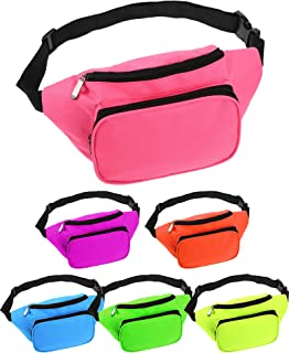 Weewooday 6 Pieces Neon Fanny Bag Adjustable Waist Bag 80s Party Fanny Pack 2 Zippers Travel Running Fanny Pack for Outdoo...