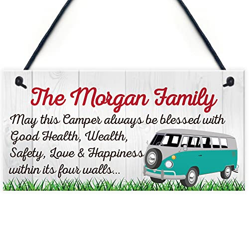 RED OCEAN Personalised Bless this Campervan Hanging Plaque Motor Home Family Name Gift Camper Sign