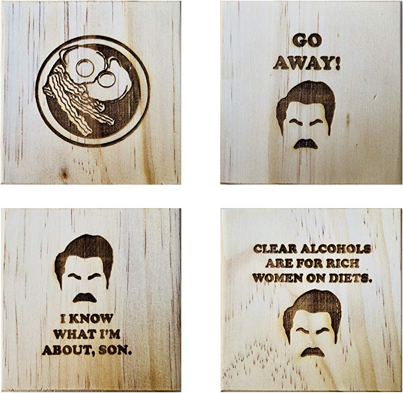 Ron Swanson Coasters By Brindle Designs Permanent Engraved Gift Set Of 4 Wood Coasters Inspired By Parks And Recreation The Best Of Ron Swanson
