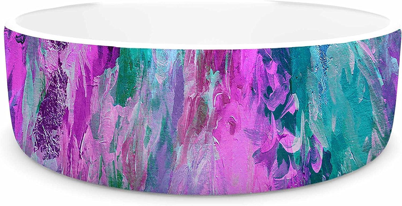 KESS InHouse EBI Emporium The Nexus 5, Pink Teal Teal Pink Painting Pet Bowl, 7  Diameter