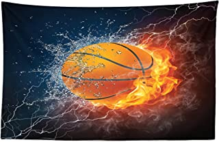 Lunarable Sports Tapestry, Basketball Ball on Fire and Water Flame Splashing Thunder Lightning, Fabric Wall Hanging Decor for Bedroom Living Room Dorm, 45