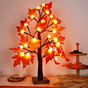 Glory Island Artificial Fall Maple Tree 24 LED Thanksgiving Tabletop Decoration Pumpkin Shape Lights with Timer for Indoor Home Wedding Autumn Harvest Decor