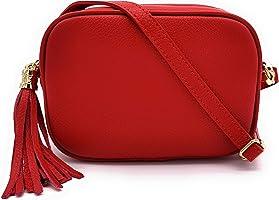 ELIOX Bolso mujer piel auténtica Made in Italy pequeño bolso bandolera elegante moda Crossbody Bag Genuine Leather