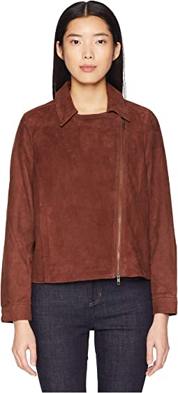Soft Suede Stand Collar Short Zip Jacket