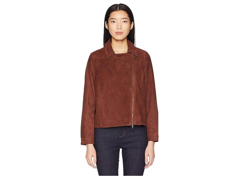 Eileen Fisher Soft Suede Stand Collar Short Zip Jacket (Nutmeg) Women's Coat