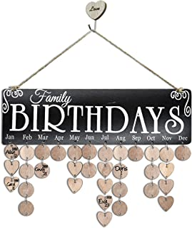 YuQi Gifts for Moms/Dads/Grandma/Grandpa- Wooden Family Birthday Reminder Calendar Board Wall Hanging, Great Way to Keep All The Birthdays and Anniversary's