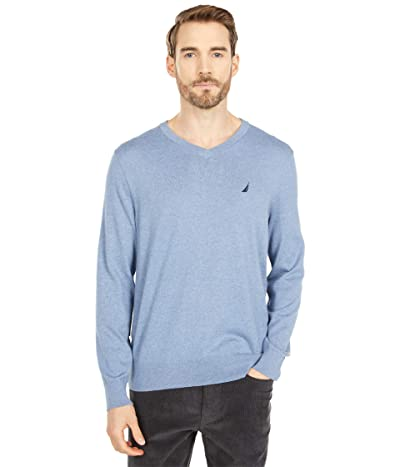 Nautica Navtech V-Neck Sweater (Deep Anchor Heather) Men
