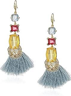 Womens Multi Stone & Blue Tassel Gold Tone Drop Earrings, One Size