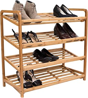 BirdRock Home 4 Tier Bamboo Shoe Rack - Home Storage Wood Organization - Natural Durable Environmentally Friendly Organizer - Closet Cabinet Shelves Shelf - Fits 9-12 Shoes