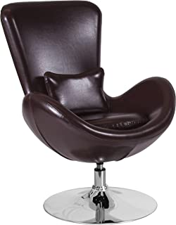Flash Furniture Egg Series Brown Leather Side Reception Chair