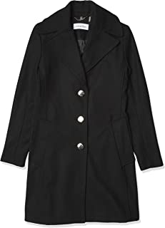 Calvin Klein Women's Single Breasted Wool Coat with Notch Collar
